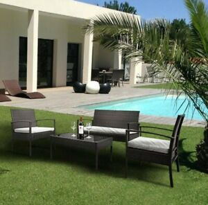4 pc Patio Set - 2 chairs, 1 Love seat, 1 table - rattan material free shipping