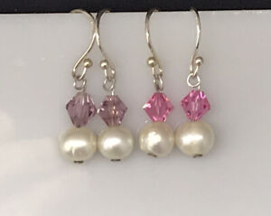 Sterling SILVER 925 White Baroque PEARL  Drop EARRINGS Two Set Pink Purple