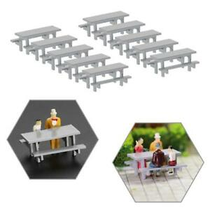 10pcs HO Scale Model Table Chair Gray 1:87 Outdoor Camping Table Bench Seats