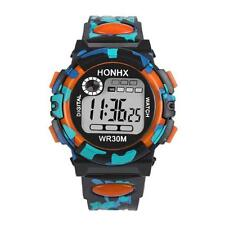Kids Waterproof Children Boys Digital LED Sports Watch Alarm Date Watches Gift