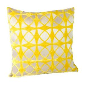 Malini Spiral Mustard Cushion Geometric Circular Velvet Grey Yellow Embossed