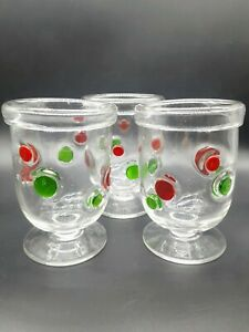 3 Hand Blown Mini Footed Juice Tumbler Glasses Clear Red and Green Dots