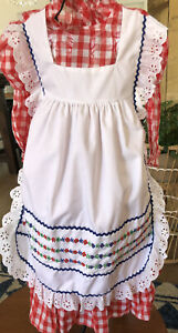 Vintage Baby Girl Toddle Time Red With Apron Dress EUC