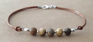 PICTURE JASPER, Golden Brown Leather Cord, Silver Plated, Friendship Bracelet