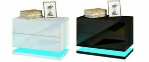 Modern LED Bedside Table Cabinet Nightstand w/2 Drawer High Gloss RGB Light