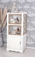 Wood Display Case Wardrobe Cabinet Country House Style Glass-front White Antique