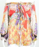 ROBERTO CAVALLI SILK RUFFLE SHEER FLORAL OFF SHOULDERS  BLOUSE TOP SIZE 46 (L)