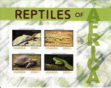 Uganda 2013 MNH Reptiles of Africa 4v M/S Snakes Lizard Tortoise Crocodile Agama