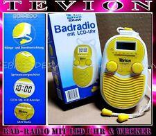 Tevion Radiowecker BDR200 Wasserfest Bad Wand Dusch radio LCD ALARM Lemon weiß