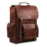 16 Inch Brown Leather Backpack For Men Vintage Easy Open Push Lock Genuine Bag