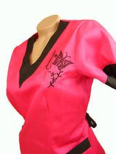 New Women Nursing Scrub Pink Black Embroidery Butterfly Poly/Cotton Top Size XL