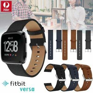 For Fitbit Versa 1/ Versa  2 / Lite Leather Wrist Watch Band Strap Soft