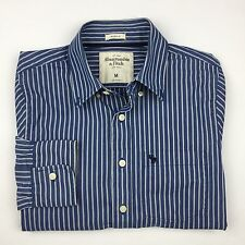 Abercrombie & Fitch Muscle Fit Button Down Stripes Shirt Medium M Navy Blue