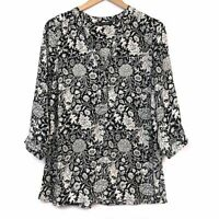 ROSE OLIVE ANTHROPOLOGIE ? Black Cream Ivory Floral 3/4 Sleeve Top Blouse Small
