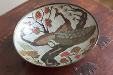 Fruit Bowl Metal Enameled Peacocks on Brass Made in India