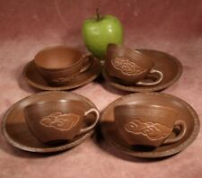 VINTAGE CHINESE SET 4 DECORATED CUPS & SAUCERS YIXING BROWN CLAY POTTERY