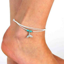 Turquoise Fish Tail Multilayer Anklet Barefoot Sandal Beach Foot Ankle Bracelet#