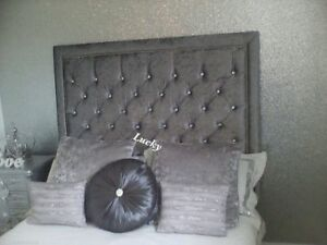 """44"""" inch Tall Wall Mounted Headboard in Crushed Velvet in MS CLOSE LUXURY DESIGN"""