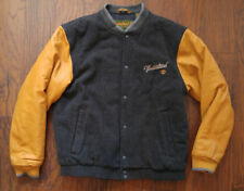 Timberland Jacket Letterman Varsity Wheat Leather Grey Wool Insulated Mens Large
