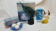 Vntg Avon Sea Trophy Decanter, Dolphin Miniature & Water Lily Soap Dish/Soap