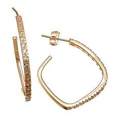 Sterling Silver Square Hoop Earrings-25M Pave 5A Cubic Zirconia Cz Rose