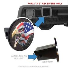 "Custom Class 3 Tow Hitch Receiver 2"" Insert Plug Truck & SUV - EAGLE USA FLAG G"