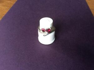 💎 Vintage 925 Silver Diamond/Ruby 💕 Love Hearts 💕 Ring 💎 Size H 💎 Stunning