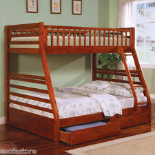 Ogletown Twin Over Full Bunk Bed with Storage Drawers Twin Bed in Oak Finish