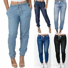 Women Elastic Waist Drawstring Jeans Denim Tie Waist Pants Casual Trousers AU