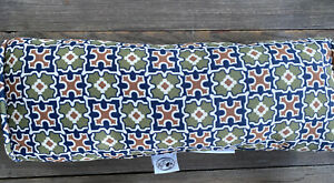 "HAMPTON BAY Outdoor 18"" Lumbar Pillow Bolster Fall River Pattern Moss Navy NEW"