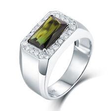18K White gold Natural Tourmaline & Full Cut Diamonds Engagement Men Ring