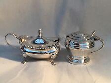 2 Solid Silver Mustard Pots, 1 x Harrods 1 x Walker & Hall, 1935 & 1966