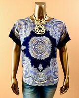 CHICO'S $74 NWT BLUE DAMASK DOLMAN SHORT SLEEVES BOXY LOOSE TOP SIZE 1 ( M )