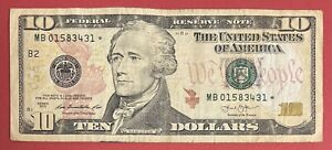 """US Banknotes $10 Bill 2013 Replacement ⭐️ """"B2 - New York"""" VG-VF (#2565)"""