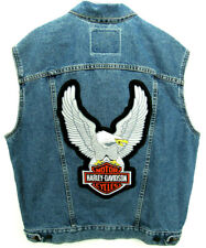 Levi's Men's Size M Denim Vest With Harley-Davidson Patches Biker Motorcycle