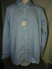 BNWT* Haggar 2XL Fitted Polka Dots Striped Long Sleeve Button Up