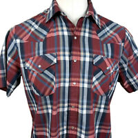 Mens Ely Cattleman Shirt Western Pearl Snap Plaid Rockabilly L Large