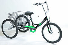 "SPECIAL NEEDS DISABILITY JUNIOR 20"" WHEEL TRIKE TRICYCLE BLACK & GREEN DECALS"