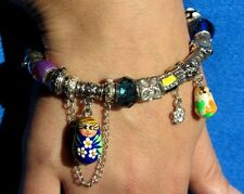 Hand MADE BLUE WHITE 2 Charm Matryoshka DOLL EUROPEAN Beads Snake Bracelet