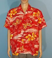 Roundy Bay Lounge Hawaiian Camp Palm Trees Flowers Mens Shirt Size XLarge XL A8