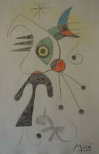 Unique Surrealist fine crayon, drawing, signed Joan Miro w COA