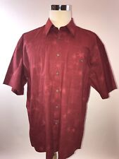 Pierre Cardin XL Red Palm Tree Print Short Sleeve Button Down Hawaiian PC138