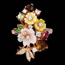 925 Sterling Silber Ring Roségold beschichtet, Turmalin & Perlmutter Blumen, Neu
