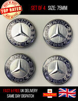4 x DARK BLUE Mercedes Benz Style Alloy Wheel Centre Caps 75mm