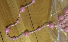 10 Strands Sizes 20mm, 8mm Faceted & 2mm Round Acrylic Pink Iridescent Beads