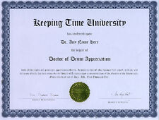 Doctor Drum Appreciation Novelty Diploma Gag Gift
