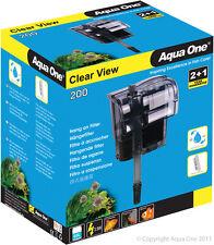 Aqua One A1-29059 Clear View 200 Hang On Filter 200L/h for Aquariums, Fish Tanks