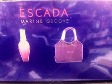 2 Pcs Gift Set Escada Marine Groove Women Perfume EDT Spray 3.3 oz With Purse