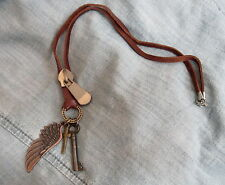 Mens ANTIQUE SKELETON KEY w/ WING CROSS on LEATHER CORD Surfer Pendant NECKLACE