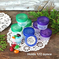 12 Clear Jars Green Blue Purple Lids Plastic Containers one half oz 3803 USA New